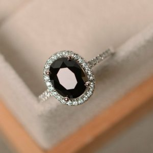 oval black diamond ring