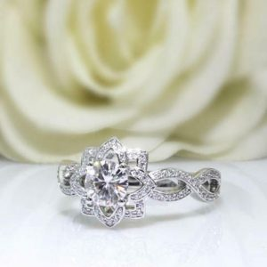 flower halo ring
