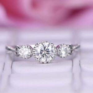 three stone engagement ring