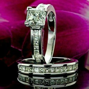 princess cut bridal set