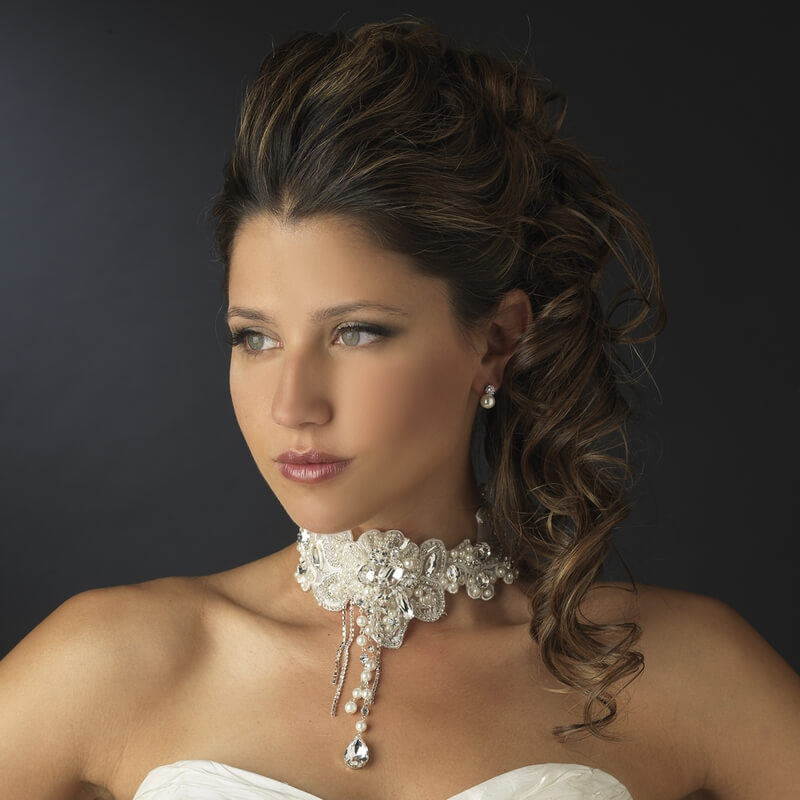 Bride Wearing Choker Necklace With Matching Earrings Set for Wedding