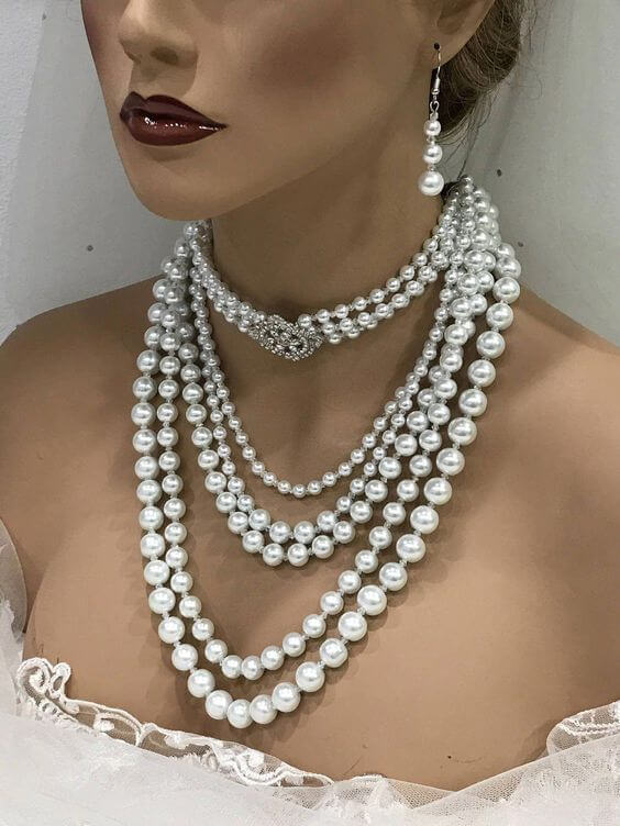 Combination of Choker and Collar Length Pearl Necklace for Brides Wedding