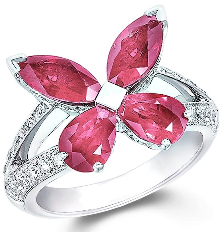 Classic Silver Butterfly Diamond Ring
