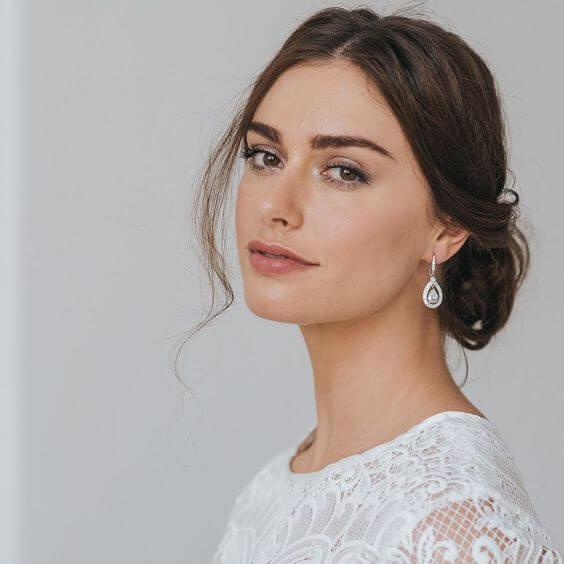 Teardrop Shaped Diamond Drop Earrings for Brides Wedding