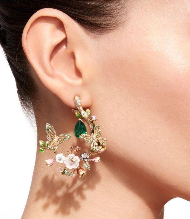 Fancy Butterfly Gemstone Earrings