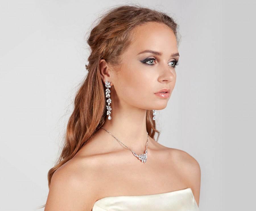 Beautiful Diamond Long Earrings for Brides Wedding