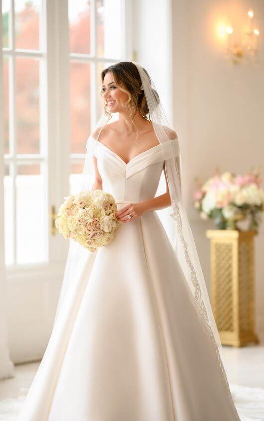 Off-Shoulder Neckline Wedding Gown