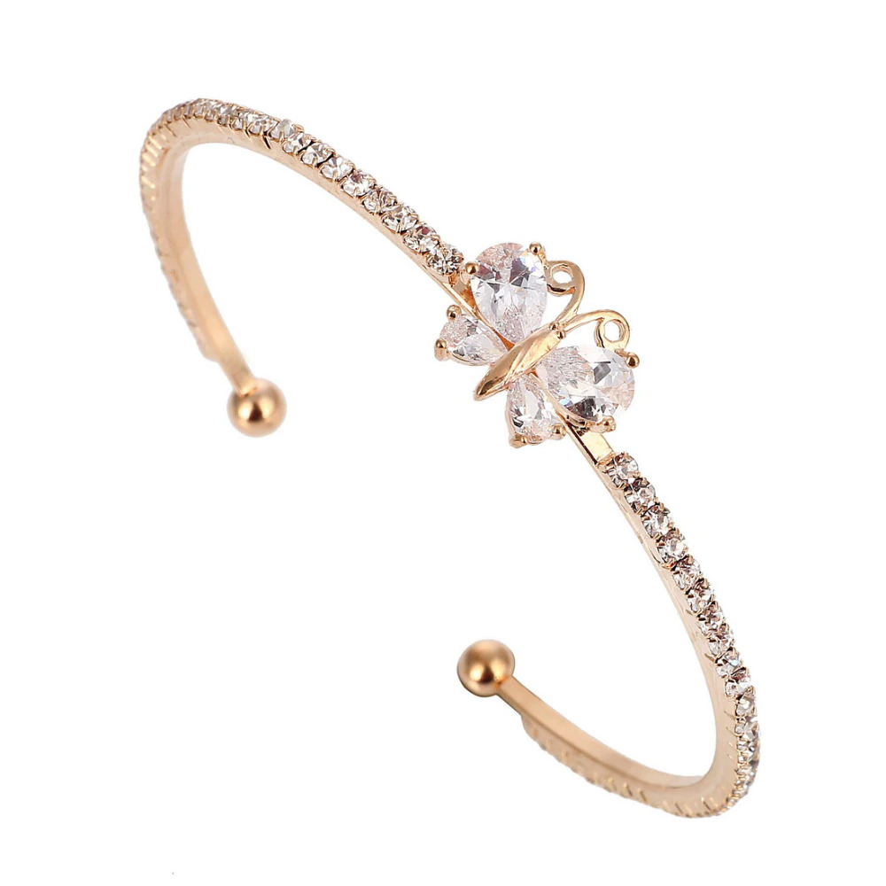 Rose Yellow Gold Plated Signity Diamond Butterfly Bracelet