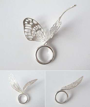 Silver Butterfly Wings Ring