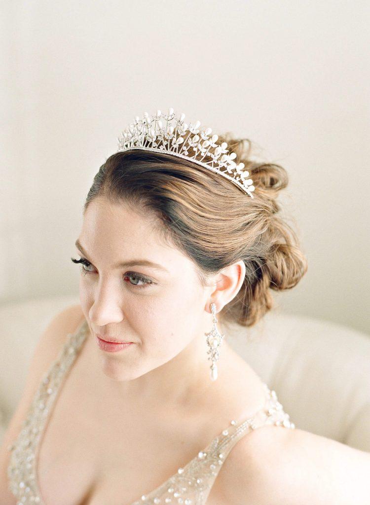 Bride wearing Beautiful Drops Earrings and Tiara