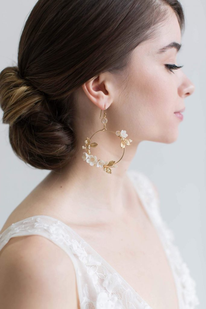 Flower and Leaves Unique Statement Earrings for Brides Wedding