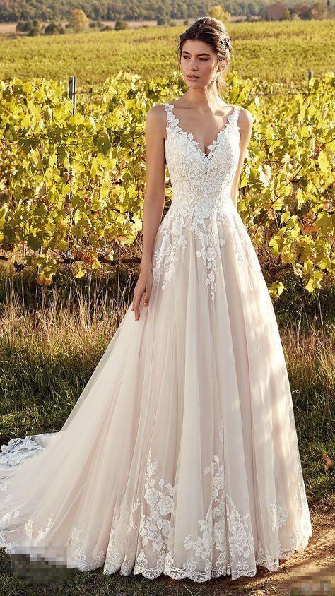 V-Neck Wedding Gown