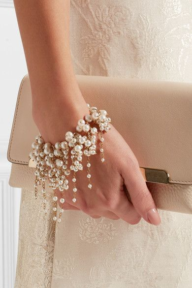 Pearl Wristlet Worn by a Bride on her Wedding