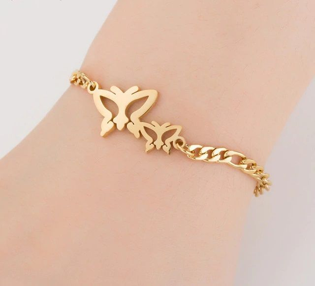 Yellow Gold Finished Sterling Silver Butterfly Bracelet