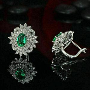 Emerald And Diamond Vintage Cluster Stud Earrings