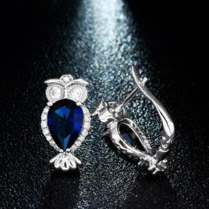 Blue Sapphire Owl Stud Earrings