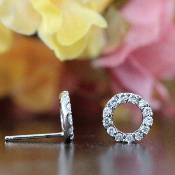 Diamond Circle Stud Earrings