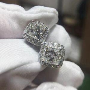 Diamond Halo Hoop Stud Earring