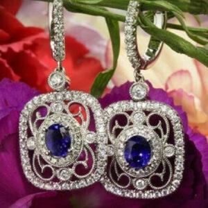 Diamond Sapphire Women Earring