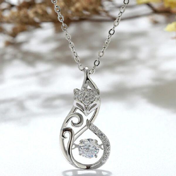 Diamond Fox Design Pendant
