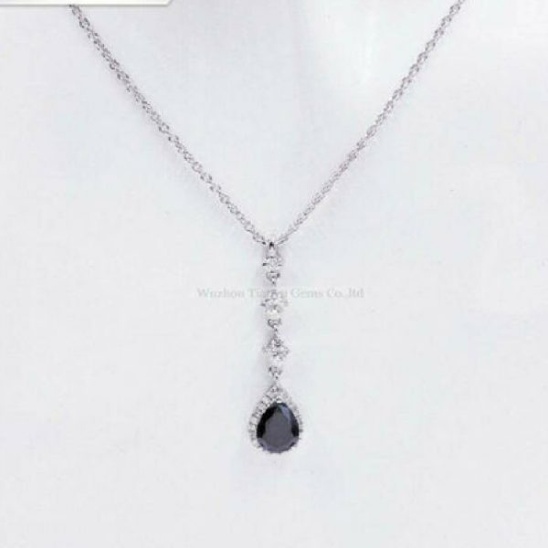 Pear Black Spinel Dangle Pendant