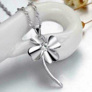 Diamond Solitaire Flower Pendant
