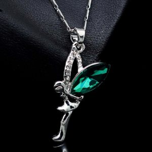 Green Emerald Angel Fairy Pendant With Chain