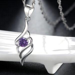 Purple Amethyst Pendant With Chain