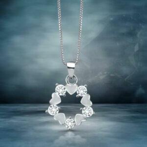 Diamond Heart Circle Pendant With Chain