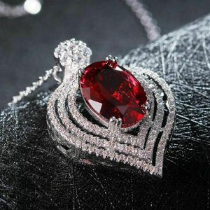 Red Ruby Halo Pendant With Chain
