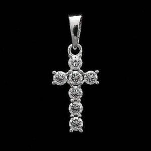 Diamond Cross Pendant Religious Necklace