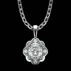 Diamond Cluster Halo Pendant