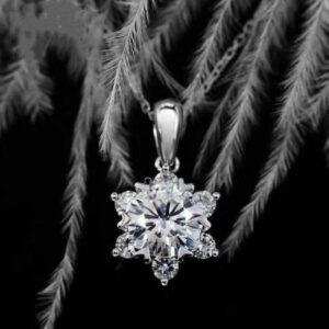 Diamond Pendant Necklace Snowflake