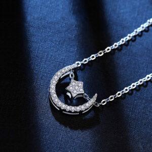Diamond Pendant Moon And Star Design