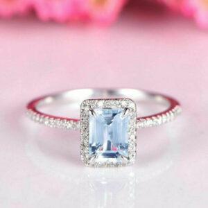 Aquamarine and Diamond Wedding Halo Ring